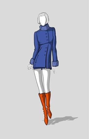 Woman in a short winter coat