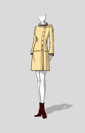 Woman in a short beige autumn coat