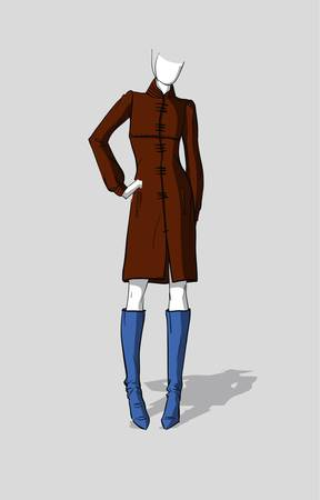 Woman in a long autumn coat Illustration