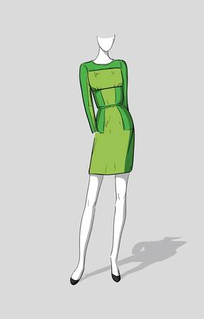 Woman in a green dress  Illustration