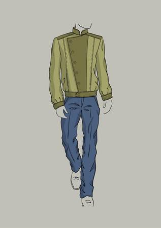 Swamp color jacket and blue trousers for men Illustration