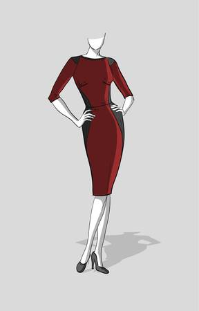 Woman in a dark red form-fitting dress with  grey inserts