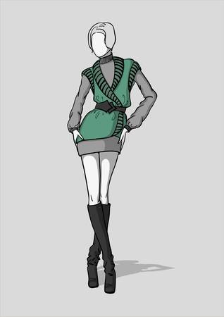 Woman in short grey dress with green vest and dark grey long boots Illustration