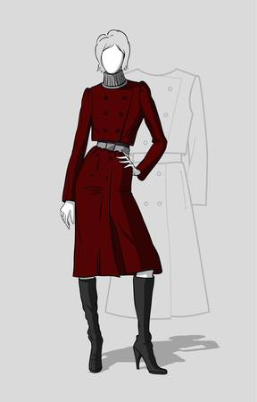 Woman in long maroon coat with a technical drawing in the background
