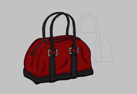 Handbag burgundy with gray inserts and  a technical drawing in the background