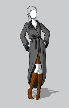 Woman in knitted gray coat and long brown boots Illustration