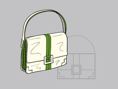 Small white woman s handbag with green accents and  a technical drawing in the background