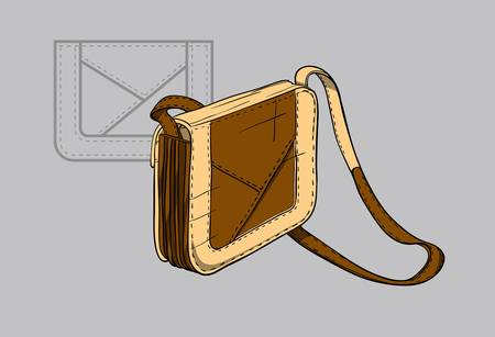 Brown woman s handbag with beige accents and  a technical drawing in the background Ilustração