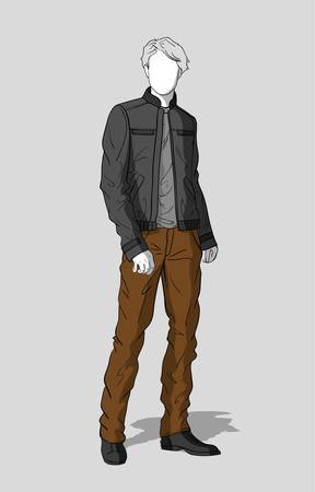 Gray jacket and brown pants for men