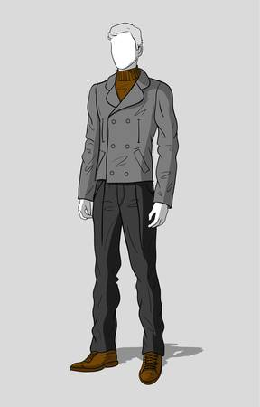 Jacket in navy look and dark gray pants for men   Vector