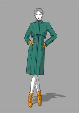 Woman in long dark green coat and  light brown leather ankle boots Illustration