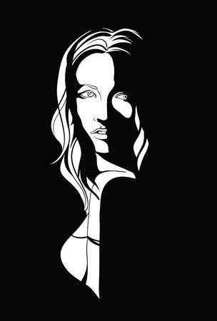Portrait of a young womanwith long hair in noir style Illustration