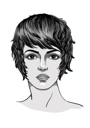 Portrait of a young woman with short haircut