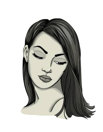 Portrait of a womanwith long hair Stock Vector - 15386904