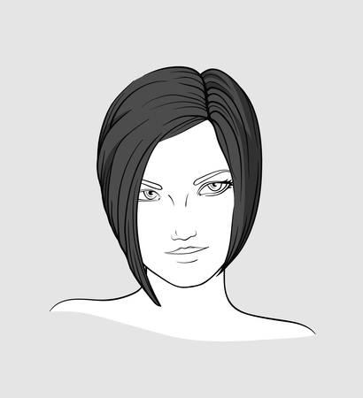 Portrait of brunette with medium long hair Illustration