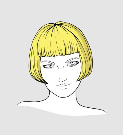 Portrait of blonde woman Illustration