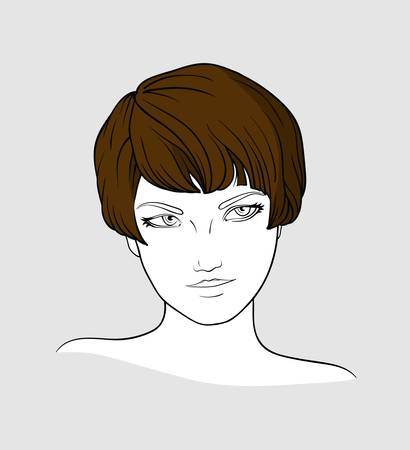 short haired: Portrait of brown haired woman with short haircut  Illustration