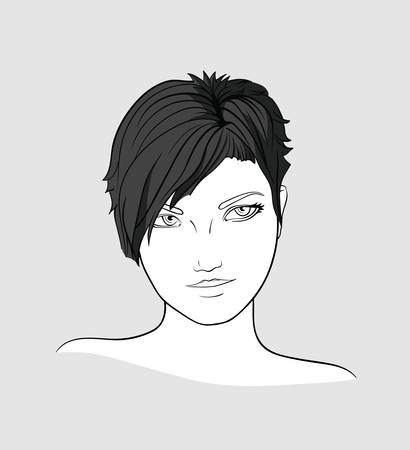 Portrait of brunette womanwith short hair