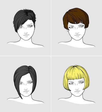 short haired: Portraits of four young women with different haircuts  Illustration