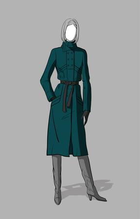 Girl in long dark green coat and grey boots