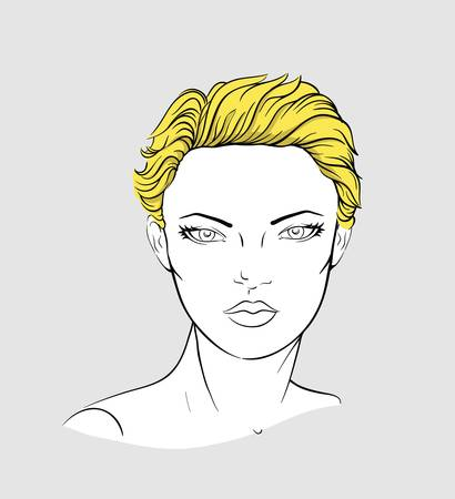 short haired: Face of light haired woman with short haircut Illustration