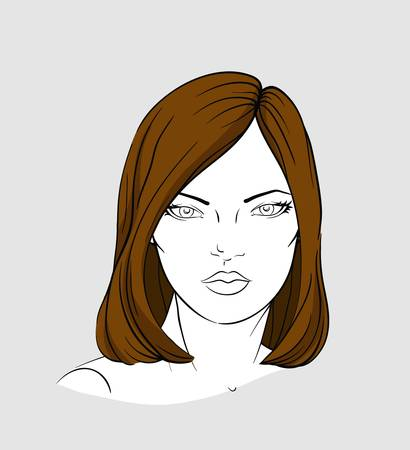 Face of woman with medium long brown hair