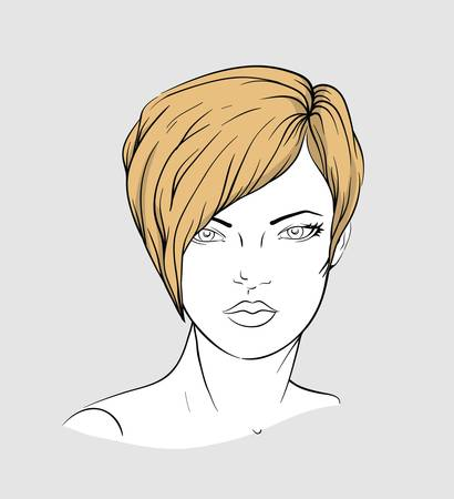 Face of a woman with a short modern hairstyle Illustration