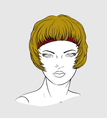 Face of woman with short haircut and elastic band for hair-dressing