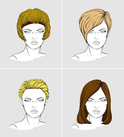 haircuts: Faces of four young women with different haircuts