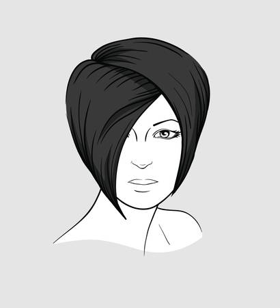 Face of brunette with short modern hairstyle
