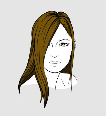 long straight hair: Face of brunette with long straight hair Illustration
