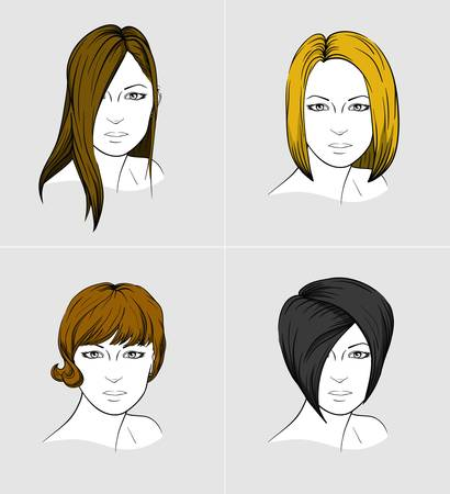 Volti di quattro giovani donne con tagli di capelli diversi