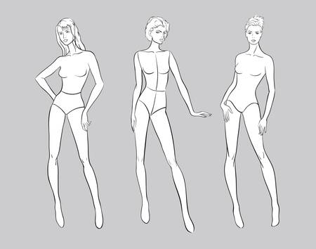 Female figurine set for fashion design