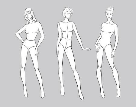 Female figurine set for fashion design