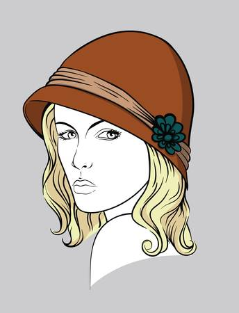 Blonde woman with brown  hat Stock Vector - 15606147