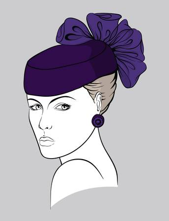 Woman with small purple hat Stock Vector - 15606151