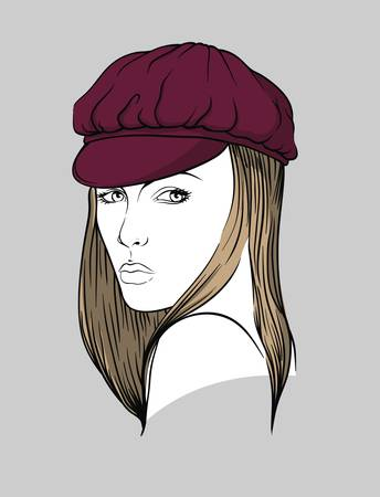 nbsp: Woman with cap Illustration