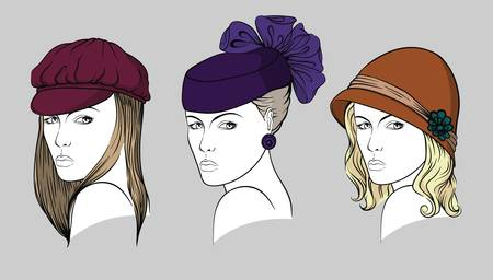 Faces of young women with different hats Illustration