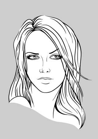 Cara de una mujer joven con el pelo largo Ilustración de vector
