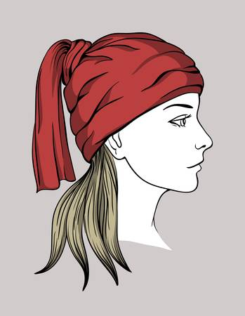 Face of girl with winter cap Illustration
