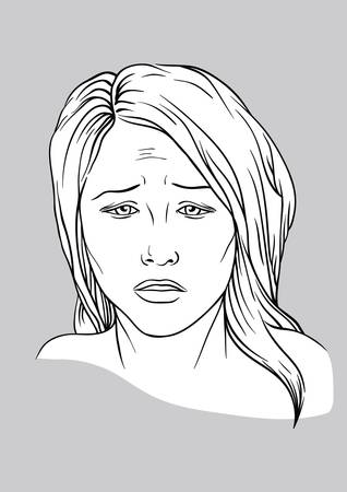 upset woman: Sad face of a young woman  Illustration
