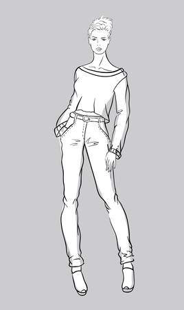 Sketch of girl in jeans and short pullover