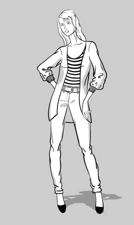 Sketch of girl in jeans and long pullover