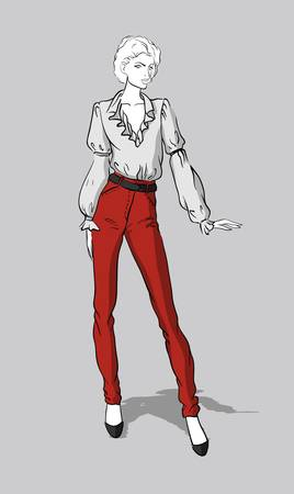 Girl in red jeans and blouse