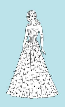 Beautiful wedding dress for young bride  Vector