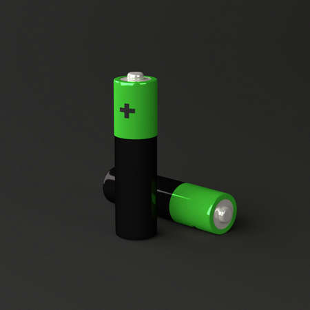 Two batteries on black Stock Photo - 18093048