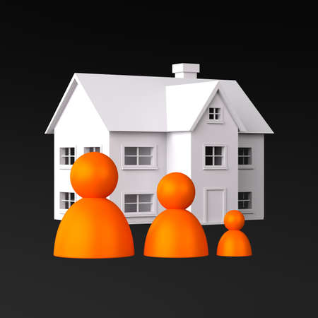 Three Peoples on the Background of the House