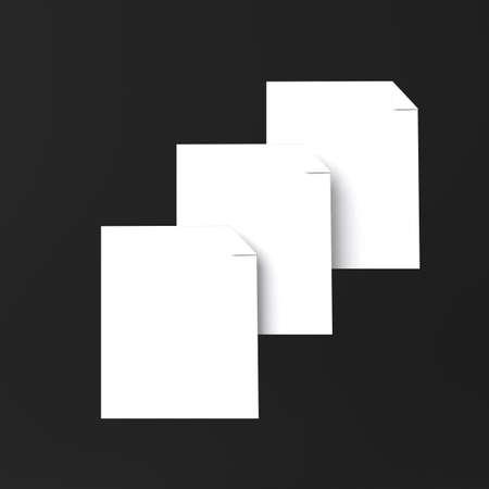 Sheets of paper icon on black Standard-Bild