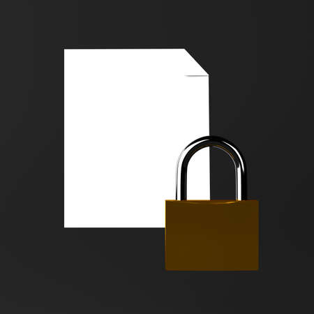 Sheet of paper and a lock icon on black Stock Photo - 18226881