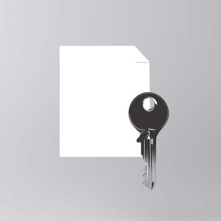 Sheet of paper and a key icon